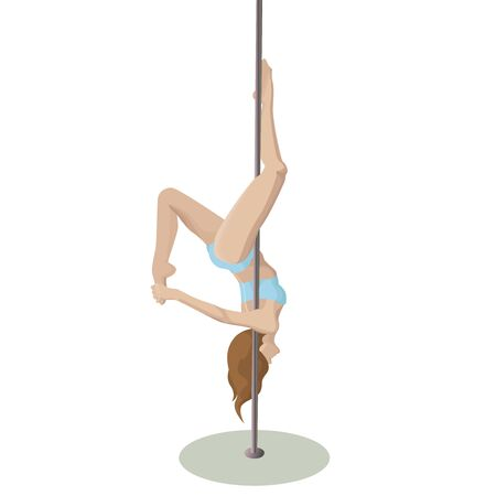 Vector pole dance girl on white background