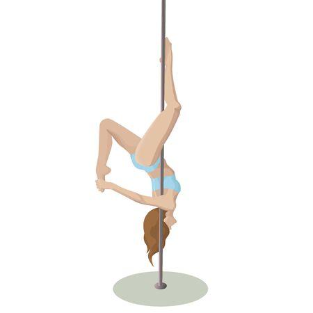 Vektor-Poledance-Mädchen auf weißem Hintergrund Vektorgrafik