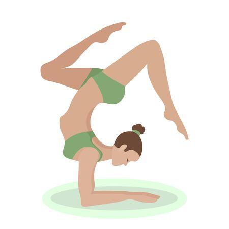 Girl in yoga pose. Vector cartoon illustration