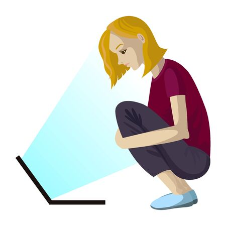 Vector girl sits on the floor and looking at notebook