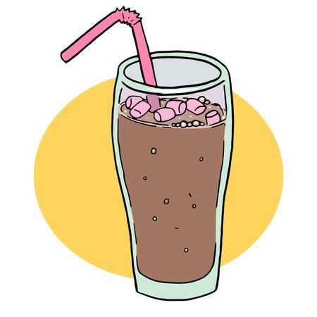 cocoa in glass with a marshmelow. Isolated object on white background. Flat style cartoon drawing 向量圖像