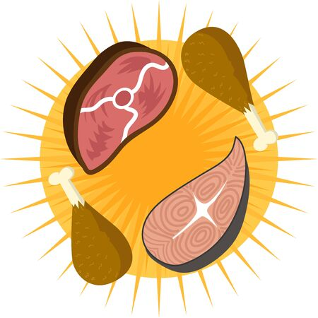 Vector piece of meat, leg of chichen and fish. Concept design for banner or flyer. Flat style cartoon drawing Illusztráció