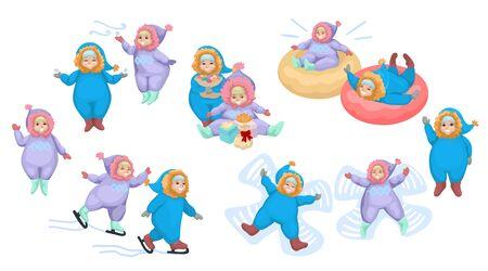 Little boys and girls are playing outdoors in winter. Set of children in different poses making winter activities. Kids dressed up in overall. Isolated on white background. Vector cartoon illustration