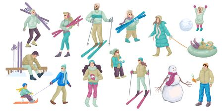 Set of people involved in winter activity. Family lifestyle. Vector illustration Illustration