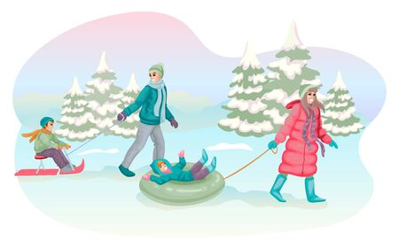 Happy parents are sledding kids in forest. Vector illustration concept