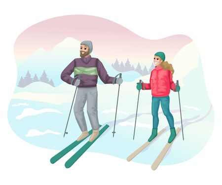 Man and woman skiing in the mountains. Vector illustration concept