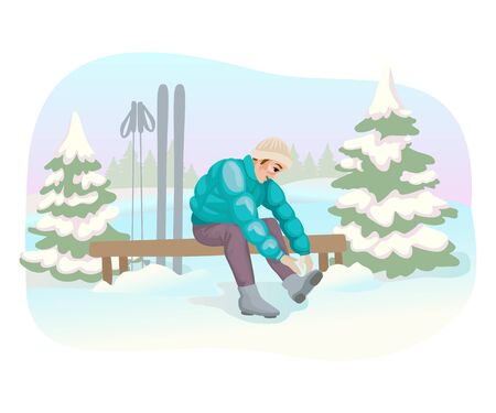 Ski rental. Man putting on ski boots. Winter landscape. Sport on vacation or holidays. Wintertime outdoor activities. Design for banner or greeting card. Vector illustration concept