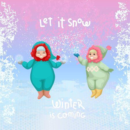 Little boy and girl catching snowflakes. Vector illustration Ilustracje wektorowe