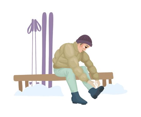 Ski rental. Man putting on ski boots. Vector illustration Illustration