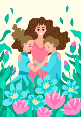 Woman hugs children. Mother with son and daughter. Spring nature and flowers bloom around. A bright illustration, congratulations on the International Women Day and Mother Day. Greeting postcard.