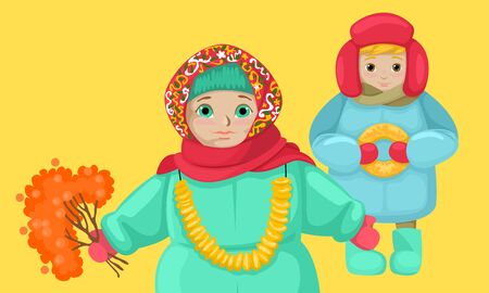 Russian small children in folk clothes. A girl in a headscarf. The boy in the winter hat. Keep a bagels. Illustration of malenitsa. Vector characters