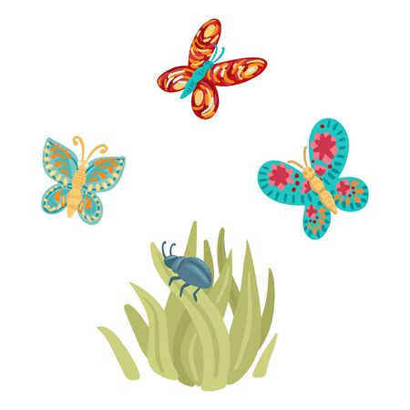 Beetle in the grass and butterflies fly. elements of nature insects. Vector illustration