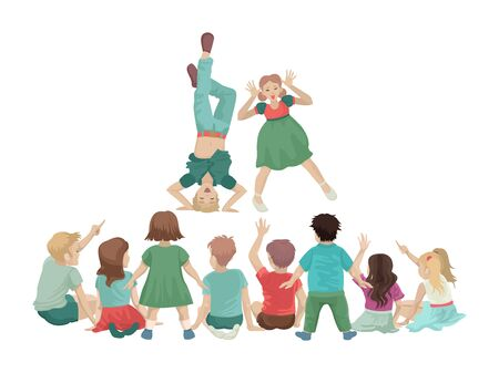 Children stand in front of a group of small students. Fun performance. Vector illustration