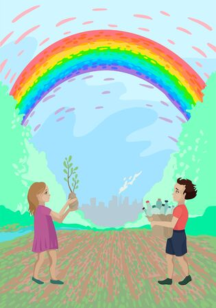 Volunteer gives plastic, the girl plants a sprout, nature and the plant behind, a rainbow over the field. Vector illustration Ilustração