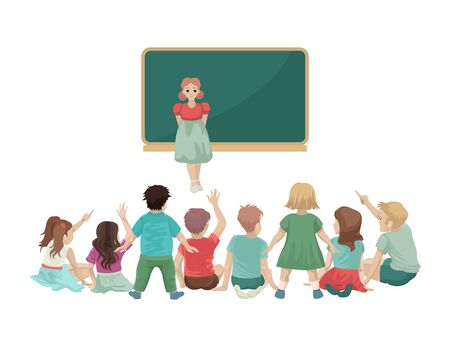 Girl tells to classmates homework, responds near the board, back to school, the new school year. Speech. Sit on the floor. Small children in kindergarten. Vector cartoon flat illustration.