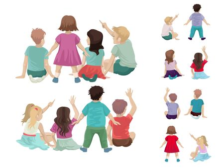 Girls in dresses, sit or stand. Back view. Pupils and boys are sitting, raising their hand up, active children in the classroom. Set of people of different colors. Vector cartoon flat illustration.