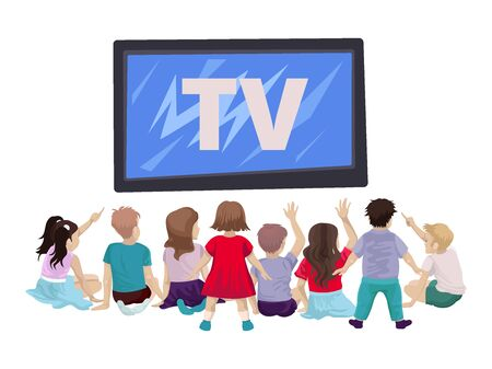 Many children, boys and girls, are watching TV, showing a finger, raising their hands or standing. Vector cartoon flat illustration on white background Foto de archivo - 138047557