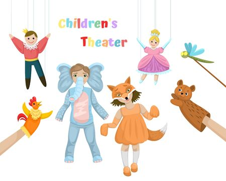 Childrens performance, stage costumes, prince and princess puppet dolls animals, children theater for preschoolers. Vector flat cartoon illustration on a white background.