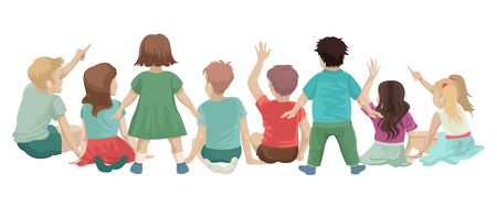 Crowd of children in a lesson or classes, looking forward and showing a hand, raise their hand to ask or answer, activity at school. Vector cartoon flat illustration on white background.
