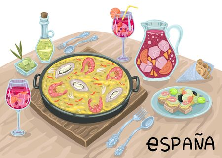 Paella and drinks in wine glasses on the table. Romantic Spanish dinner in the restaurant. Vector illustration