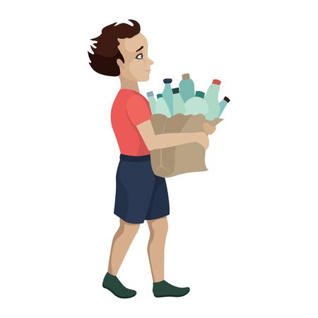 The child collects plastic for recycling, sorting garbage, saving the planet, taking care of nature, helping ecology. Vector cartoon flat character isolated on white background Foto de archivo - 138200581