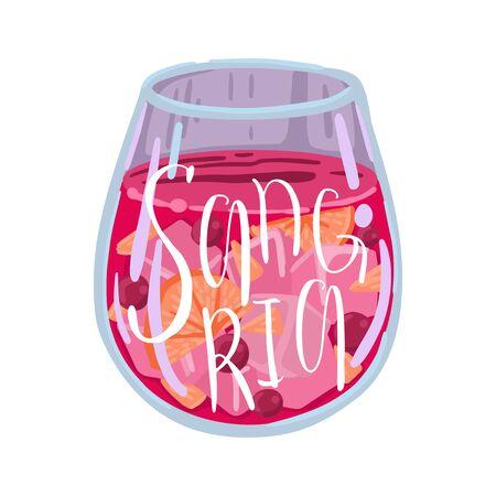Copa de vino con hielo y fruta, vino tinto, bebida de verano en el menú de cafés y restaurantes, ilustración plana de dibujos animados sobre un fondo blanco. Ilustración de vector