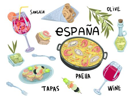 Paella, olive oil, wine glass of sangria and wine, tapas. Seafood food recipes. Street food, cafe menu. Lettering and illustrations in cartoon flat style.