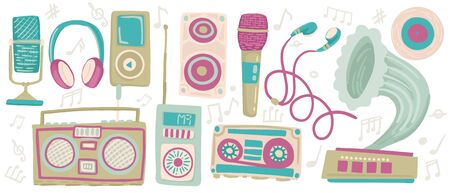 Music players, set of isolated objects on a white background. Elements for design, karaoke flyer, 80s celebration, retro print. Vector flat hand drawn illustration Çizim