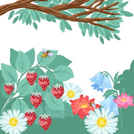 A branch of wild berries in the garden, flowers and strawberries are growing in nature on the meadow. Summer sunny day, the environment. Vector cartoon flat style illustration. Vettoriali