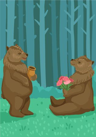 Animals in the forest, nature and wild animals, a pair of bears, gave flowers, eat honey. Vector cartoon flat style illustration