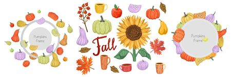 Autumn frame design, thanksgiving card. Set of illustrations for design