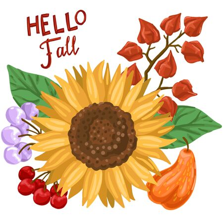 Autumn bouquet. Sunflower, physalis, berries and leaves. Vector illustration