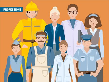Different professions, portrait character set, a card with people. Vector illustration