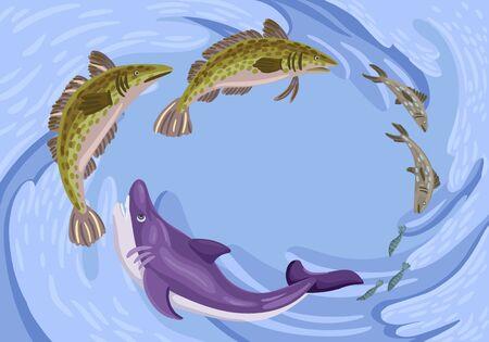 Fish hunt for fish, feeding of underwater animals, wild sea predators, sea waves, gyre. Vector flat cartoon illustration. Hand drawing