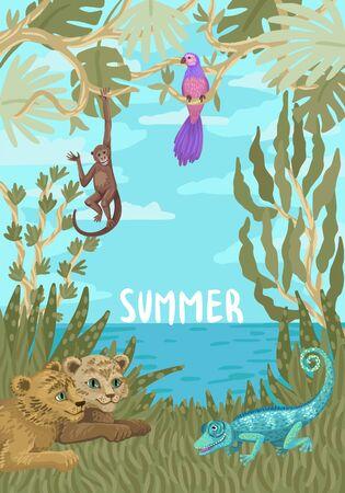 Tropical illustration with wild animals. Children frame design. Vector illustration Vectores