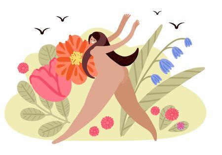Joyful girl runs across the field with flowers. Summer Vector Illustration