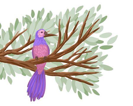 Childlike illustration of an animal in a living habitat, a feathered bird sitting on a tree branch, foliage around. Vector cartoon illustration Illusztráció