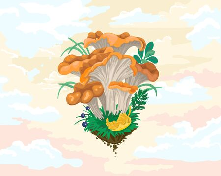 Ginger mushrooms, edible mushrooms in the forest, a flying piece of fertile land with vegetables, autumn crop, bright sky with clouds, design mushrooms. Vector cartoon illustration on a white background.