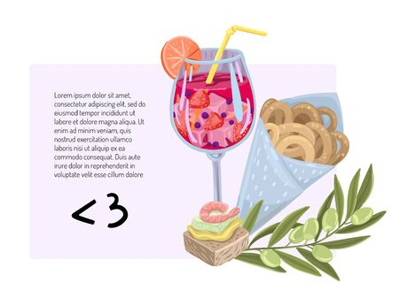 Invitation to a cafe bar restaurant for a party with sangria, summer discounts and offers, drinks with tapas. Vector flat style cartoon illustration