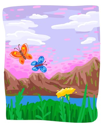 Spring or summer, green plants and dandelion, butterflies and mountains. Sloppy drawing, vivid illustration of a landscape on a journey. Uneven frame. Vector flat cartoon drawing.