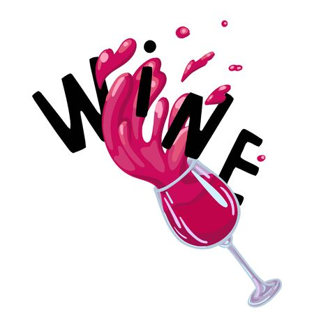 Red wine concept with lettering. Vector illustration on white background.