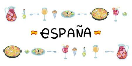 Spanish food. Tapas poster, paella, wine, sangria, olives. Flag of Spain. Vector illustration