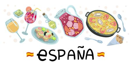 Spanish gastronomic flyer, food icons - symbols of tapasav and wine, restaurant menu title, design recipes. Vector flat illustration on white background. Banner design Stock Illustratie
