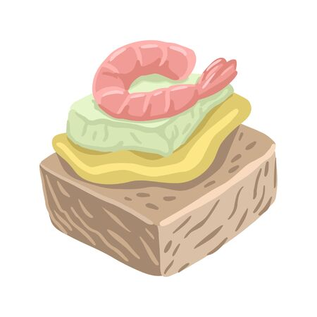 Tapas with shrimp, a small sandwich. Vector isolated illustration.