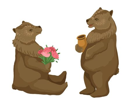 Two bears, a bear is standing and eating a honey in a pot, a bear is holding a bouquet. Vector illustration Ilustração