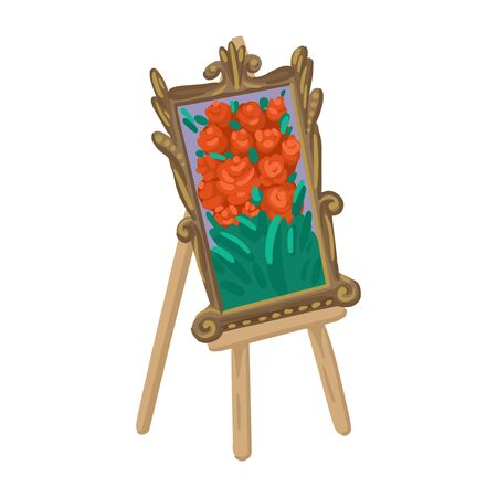 Painting with flowers, exhibition of drawings, oil painting, painting in a wooden frame, an easel in the exhibition. Vector cartoon flat style illustration on white background. Ilustração