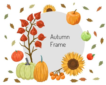 Round frame for the text of the autumn offer. Harvest and leaves around. Vector illustration