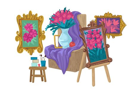 Still life and painting in a frame on the easel. Vector illustration 일러스트