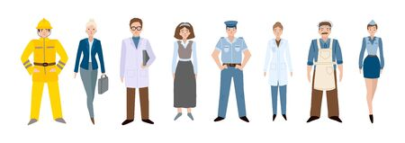 People of different professions. Set of characters on a white background. Vector illustration