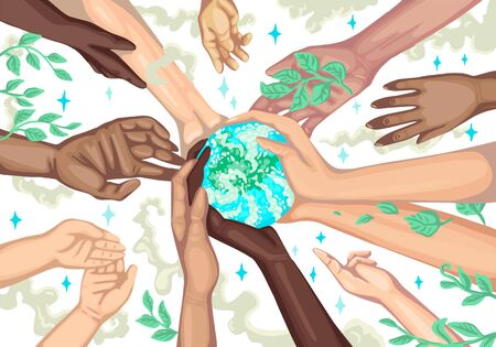 Poster save the earth. Ecological salvation of the planet. Different hands hold the Earth. Vector illustration